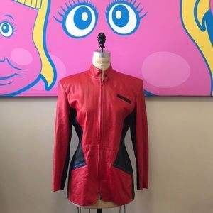 Saks Fifth Avenue Red Black Leather 1980s Jacket